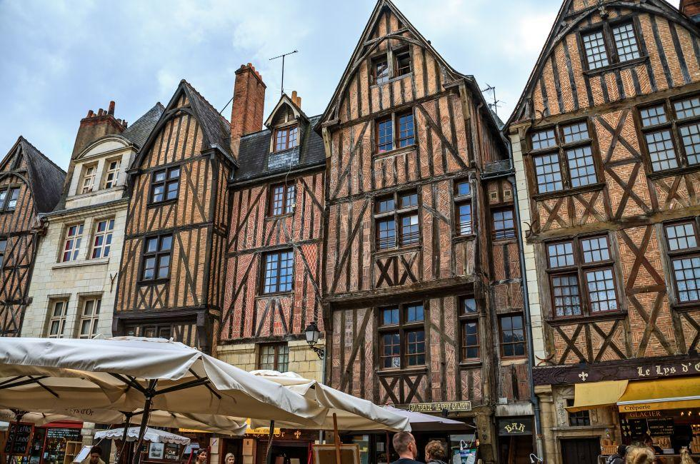 Street, Houses, Old Town, Place Plumereau, Tours, The Loire Valley, France