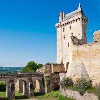Blue Sky, Bridge, Chinon Chateau, Chinon, The Loire Valley, France