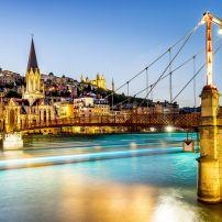 Night, Cityscape, Rhone River, St. George's Footbridge, Fourviere Cathedral, Lyon, France