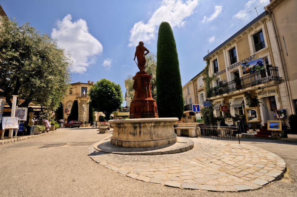 Fountain, Square, Mougins, The French Riviera, France
