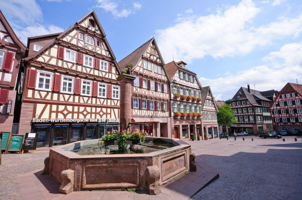 Fountain, Public Square, Shops, Calw, The Black Forest, Germany