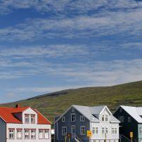 Houses, Blue Skies, Akureyri, Iceland