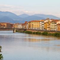 Bridge, River Arno, Waterfront, Pisa, Tuscany, Italy