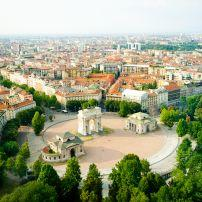 Aerial View, Milan, Milan, Lombardy, and the Lakes,  Italy, Europe