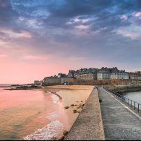 Walkway, Coastline, Beach, Sunset, Saint Malo, France