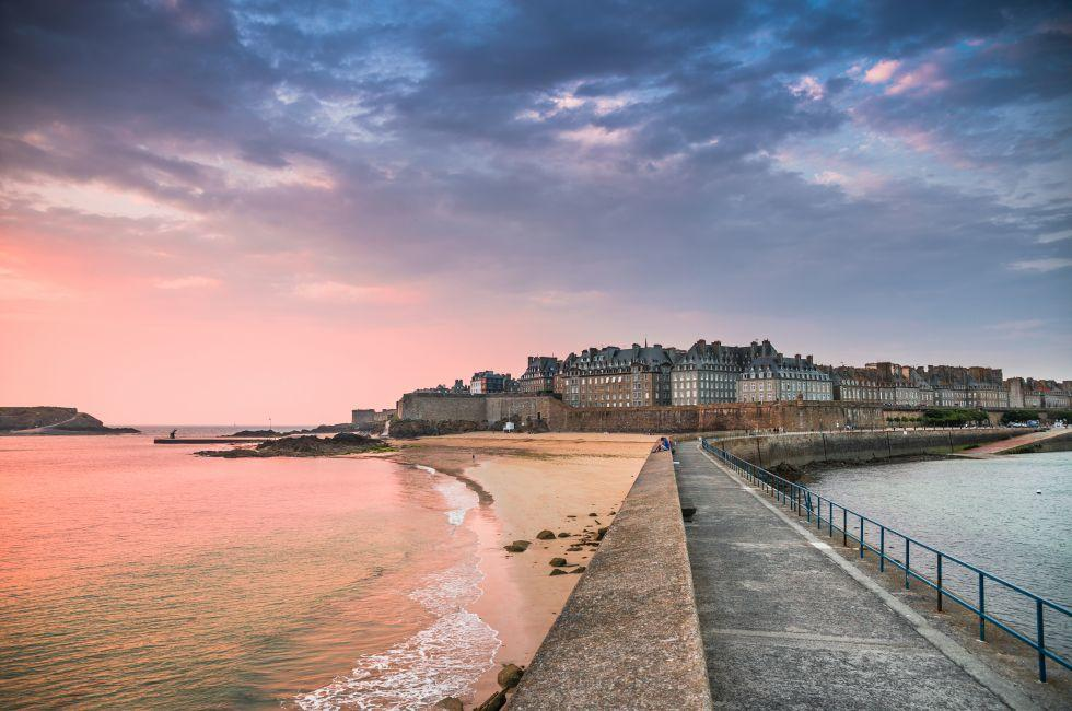 Walkway, Coastline, Beach, Sunset, Saint Malo, France