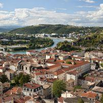 Rooftops, Cityscape, Rhone River, Vienne, France