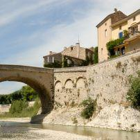 City Wall, Roman Bridge, River, Vaison-la-Romaine, Provence, France
