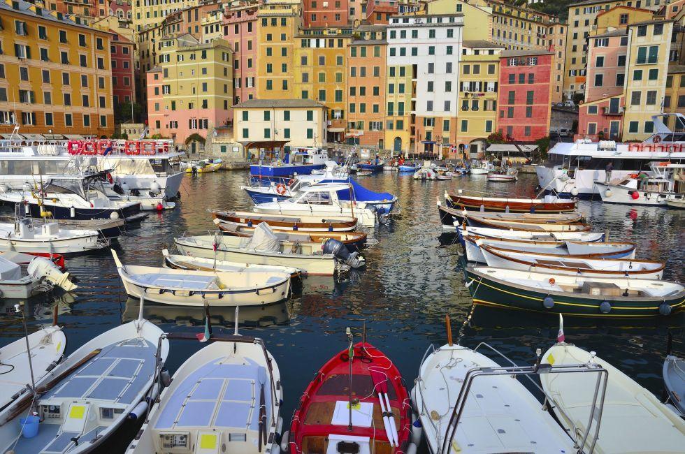 Boats, Harbor, Camogli, Genoa, The Italian Riviera, Italy