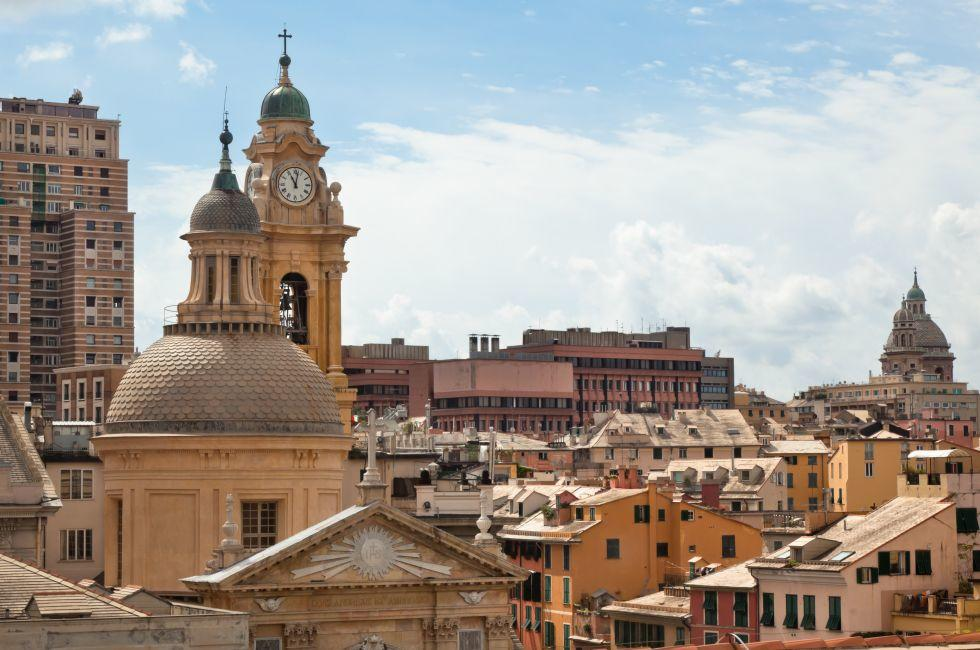 Church, Rooftops, Cityscape, Genoa, Italy