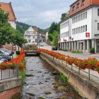 River, Street, Town, Bad Herrenalb, The Black Forest, Germany