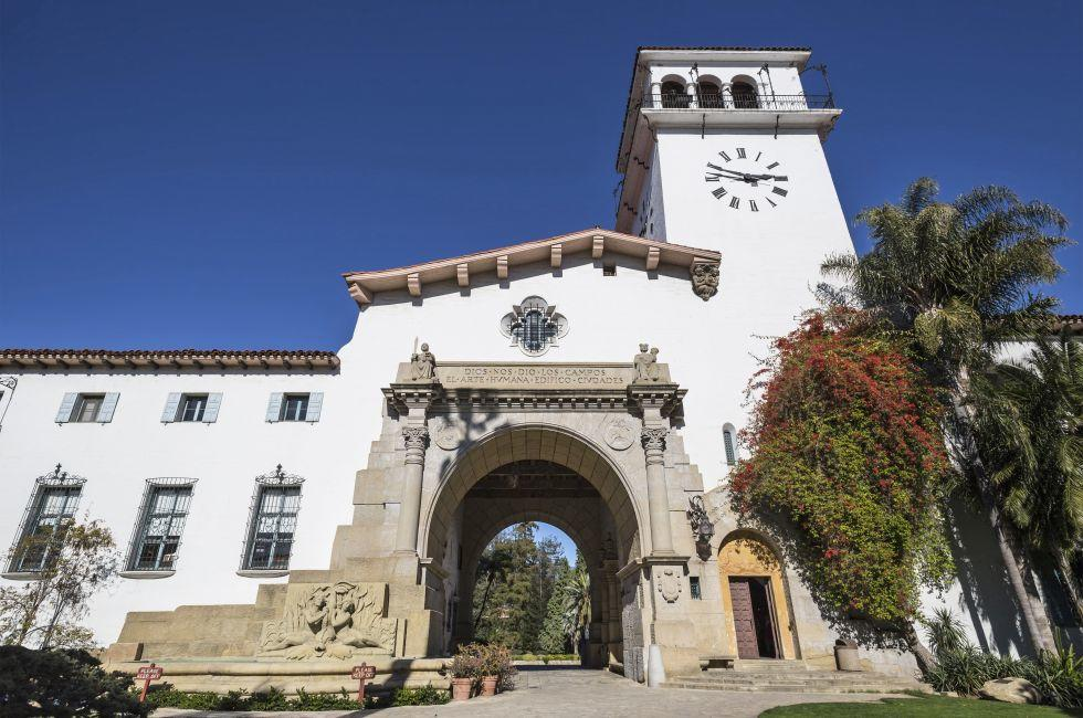 Exterior, Santa Barbara County Courthouse, Santa Barbara, California, USA