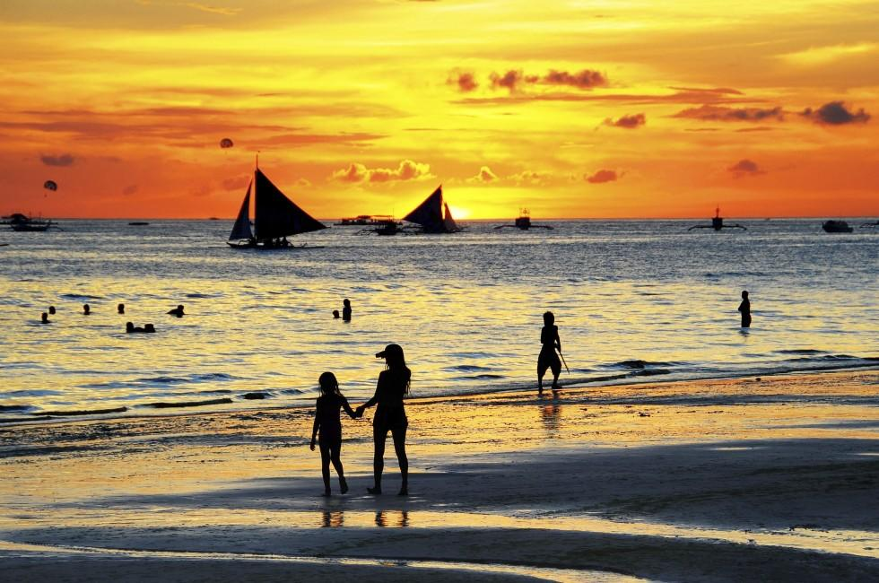 Boats, Sunset, Beach, Boracay, Philippines