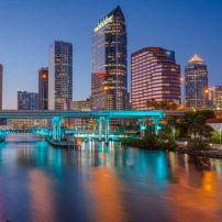 Downtown, Waterfront, Skyline, Bridge, Night, Tampa Bay, Florida, USA