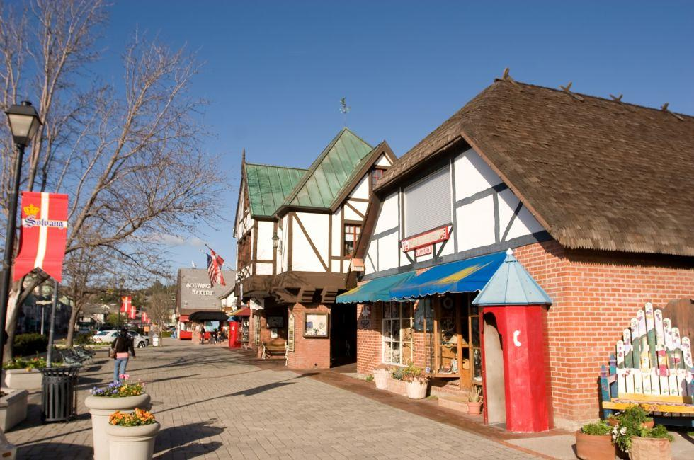 Street, Shops, Solvang, Santa Ynez Valley, Santa Barbara and the Central Coast, California, USA