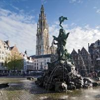 Fountain, Plaza, Cathedtral of Our Lady, Grand Place, Antwerp, Belgium