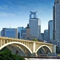Third Avenue Bridge, Skyline, Minneapolis, Minneapolis-St. Paul, Minnesota, USA