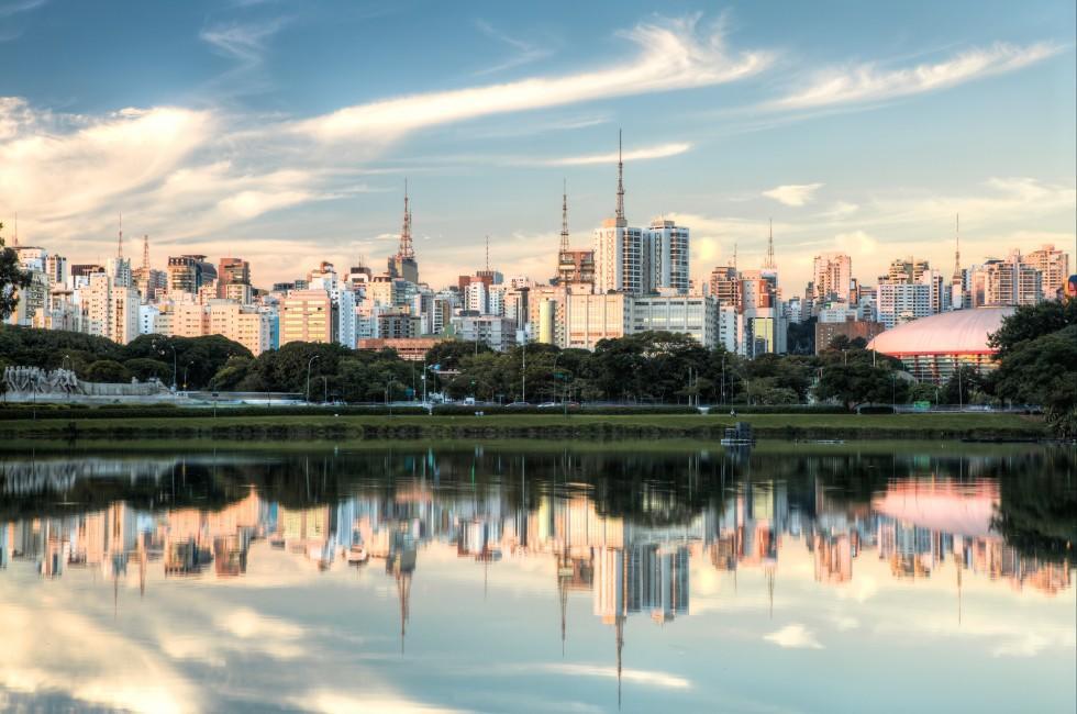 Sunset, Skyline, Parque Ibirapuera, Sao Paulo, Brazil
