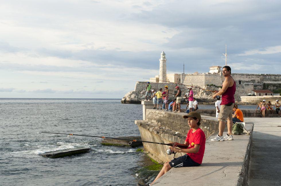 Fishing, Malecon, Havana, Cuba
