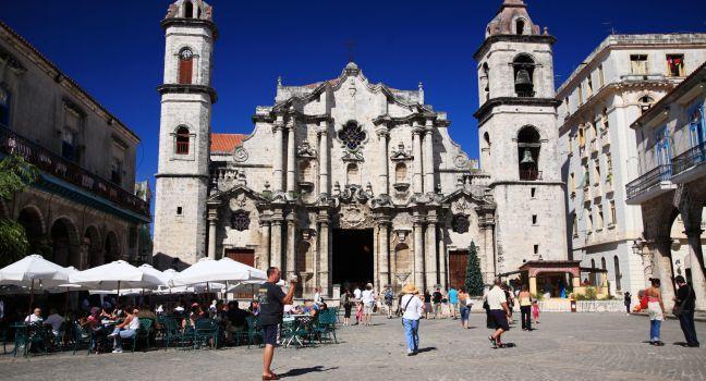 Tourists, Plaza de la Catedral, Havana, Cuba