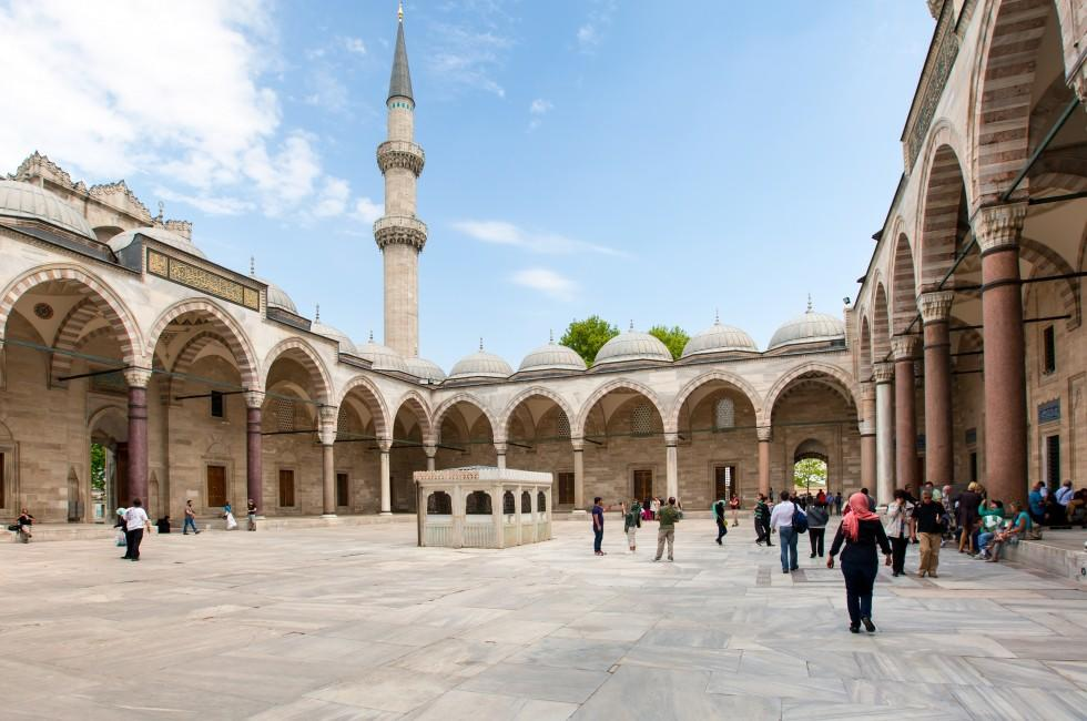 Courtyard, Mosque, Suleymaniye Camii, Istanbul, Turkey