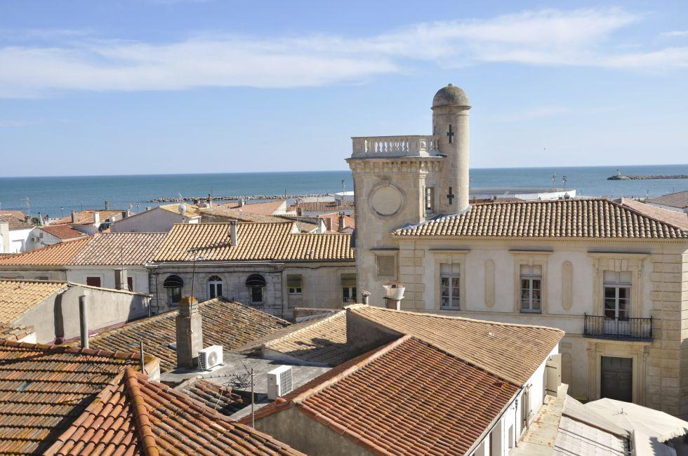 Rooftops, Church, Saintes-Maries-de-la-Mer, Camargue, Provence, France