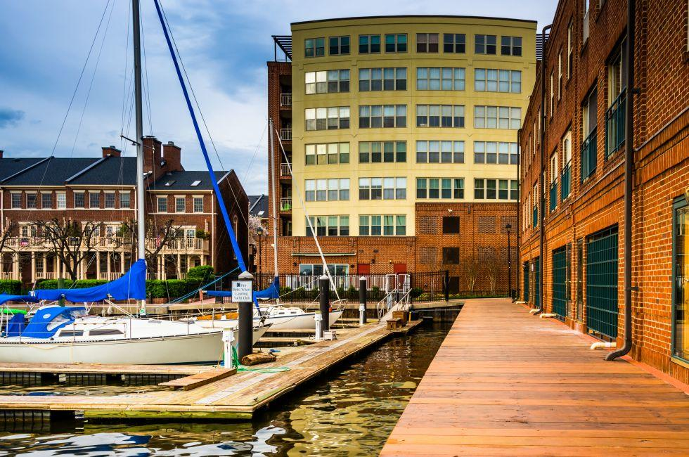 Boats, Buildings, Waterfront, Fells Point, Baltimore, Maryland