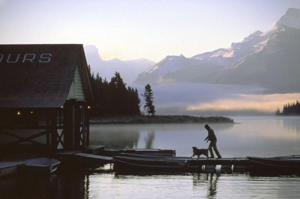 Maligne Lake, Dock, Jasper National Park, Alberta, Canada