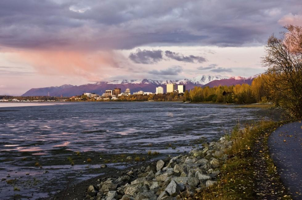 Sunset, Shoreline, Tony Knowles Coastal Trail, Anchorage, Alaska, USA