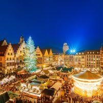 Aerial view, Christmas market, Altstadt, Frankfurt, Germany, Europe
