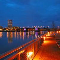 Vera Katz Eastbank Esplanade, Night, Willamette River, Southeast, Portland, Oregon, USA
