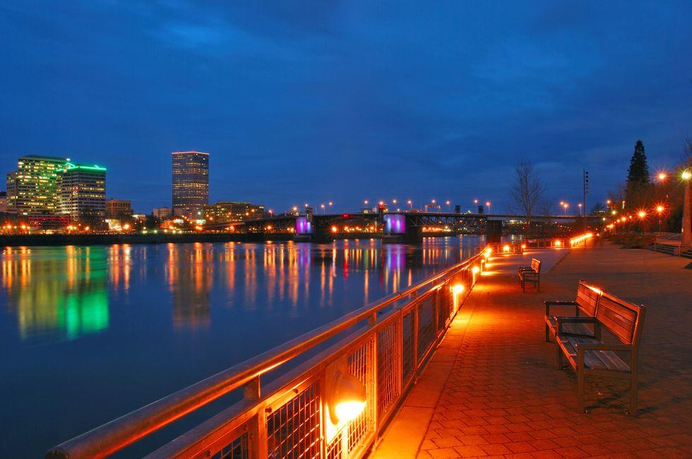 Vera Katz Eastbank Esplanade, Night, Willamette River, Southeast, Portland, Oregon, USA