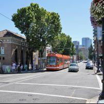 Tram, Street, Pearl District, Portland, Oregon, USA