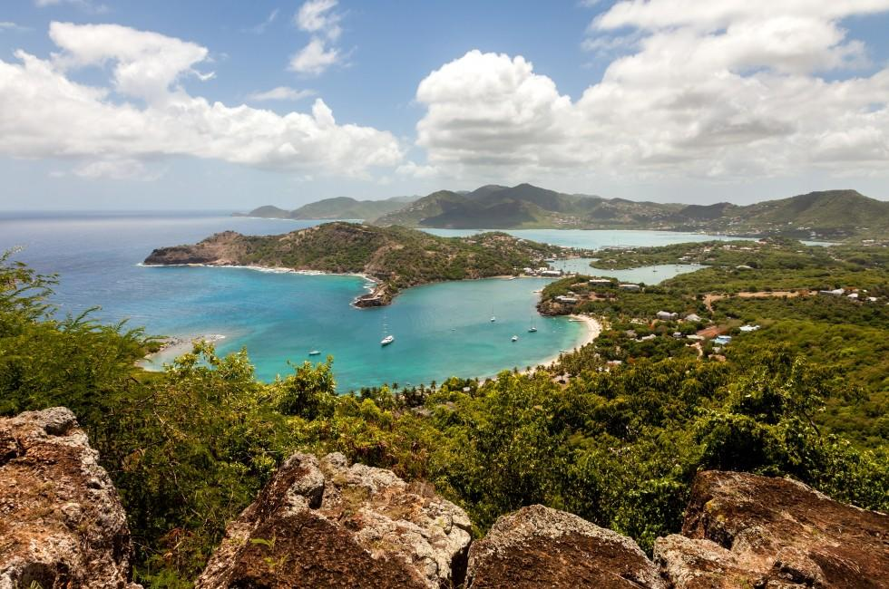 Coastline, Aerial, English Harbor, Nelson's Dockyard, Antigua, Caribbean