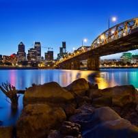 Night, Skyline, Bridge, Willamette River, Portland, Oregon