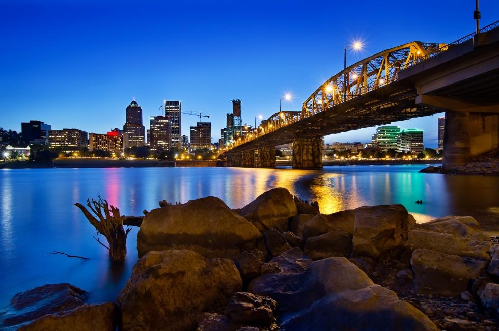 Night, Skyline, Bridge, Willamette River, Portland, Oregon