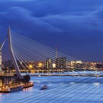 Meuse River, Cityscape, Night, Erasmus Bridge, Rotterdamn, The Netherlands