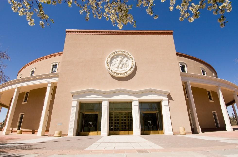 State Capitol, Old Santa Fe Trail and South Capitol, Santa Fe, New Mexico, USA