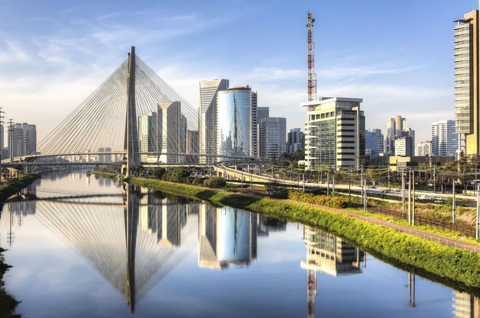 Cityscape, Morumbi Bridge, Sao Paulo, Brazil