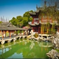 Pavilions, Pond,  Yuyuan Gardnes, Shanghai