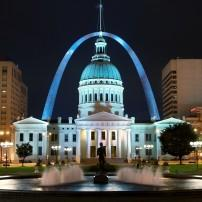 Courthouse, Night, St. Louis Arch, St. Louis, Missouri, USA