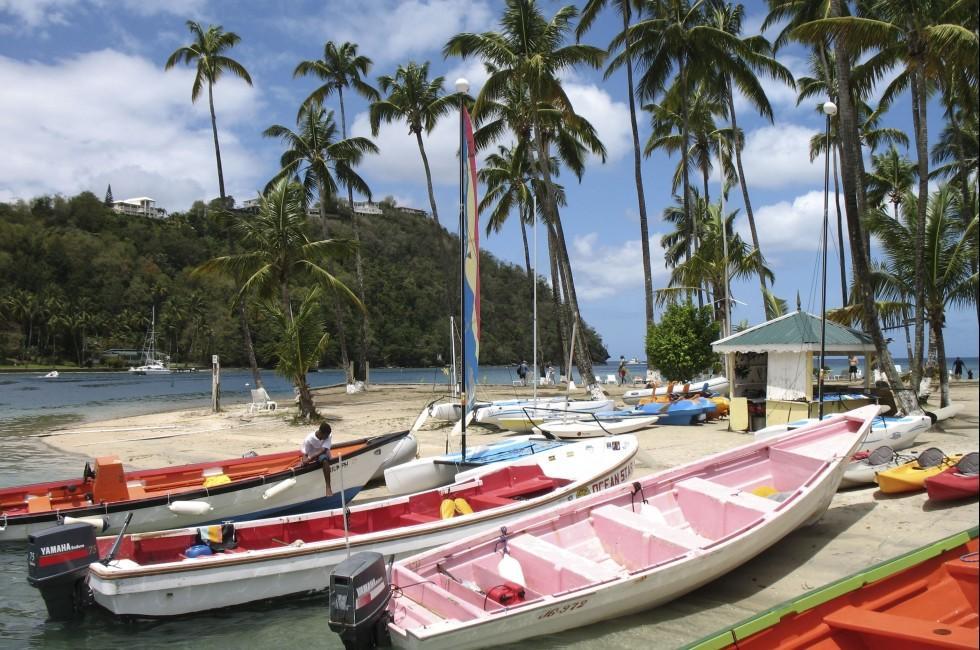 Boats, Beac, Marigot, St. Lucia, Caribbean