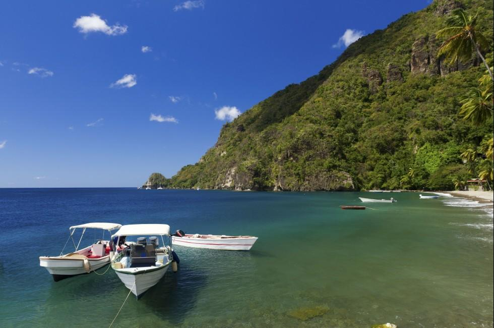 Boats, Beach, Mountain, St. Lucia, Caribbean