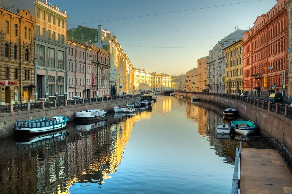 Canal, Boats, Neva River St. Petersburg, Russia