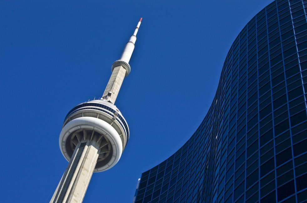 Blue Sky, Skyline, CN Tower, Downtown, Toronto, Canada
