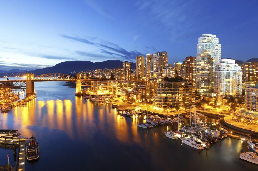 Harbor, Waterfront, Night, Vancouver, British Columbia, Canada