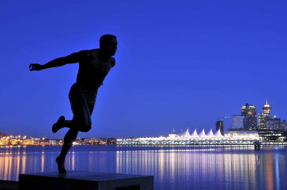 Statue, Night, Downtown, Vancouver, British Columbia, Canada