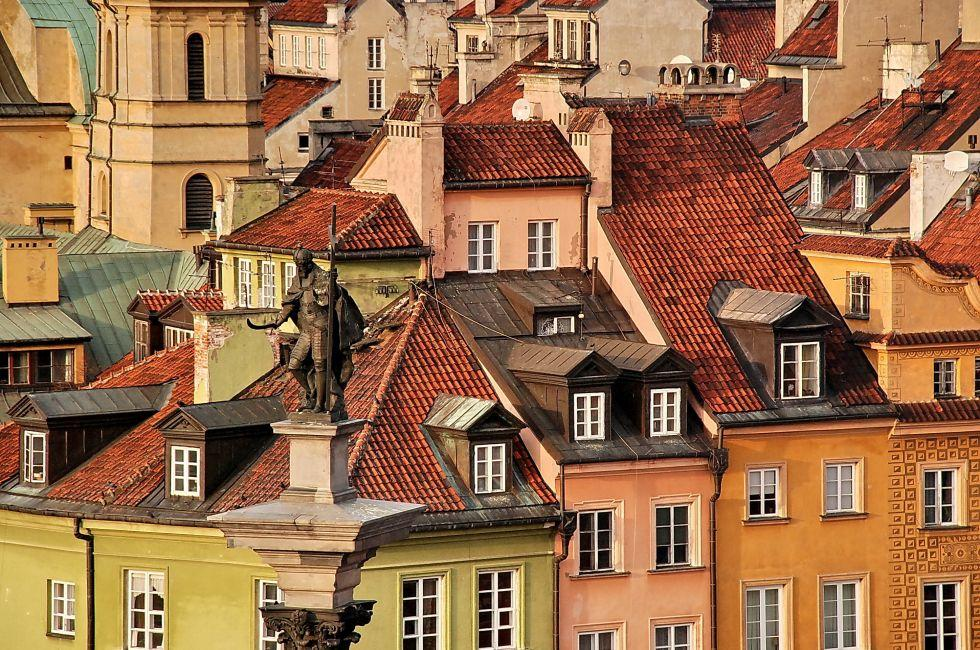 Rooftops, Statue, Warsaw, Poland