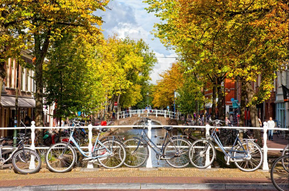 Bikes, Canal, Delft, The Netherlands