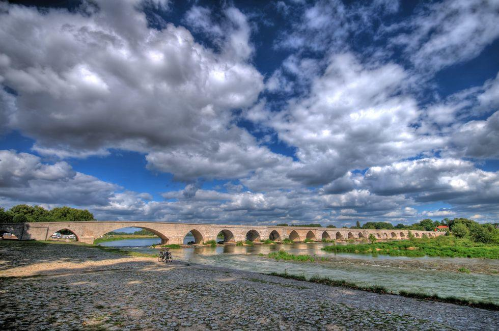 River, Beaugency Bridge, Beaugency, The Loire Valley, France